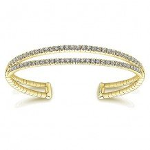 14k Yellow Gold Gabriel & Co. Diamond 2 Row Bangle Bracelet