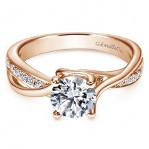 14K Pink Gold 0.16ct Diamond Engagement Ring