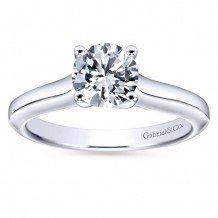 14k White Gold Gabriel & Co Solitaire Semi Mount Engagement Ring