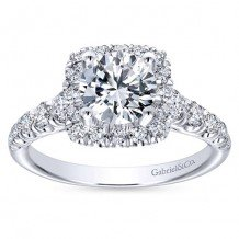 14k White Gold 0.70ct Diamond Gabriel & Co Halo Semi Mount Engagement Ring