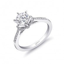 14k White Gold Coast Diamond 0.34ct Diamond Semi-Mount Fine Pave Milgrain Engagement Ring