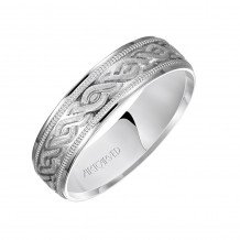 14k White Gold 6mm Carved Wedding Band