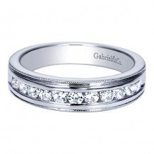 Gabriel & Co 14k White Gold 0.50ct Diamond Wedding Band