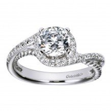 14k White Gold 0.25ct Diamond Gabriel & Co Bypass Semi Mount Engagement Ring