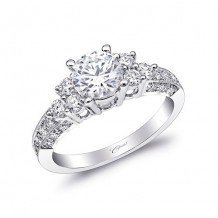 14k White Gold Coast Diamond 0.53ct Diamond Semi-Mount Engagement Ring With Milgrain Details