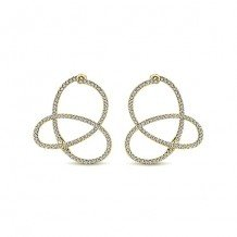 14k Yellow Gold Gabriel & Co. Intricate Diamond Hoop Earrings