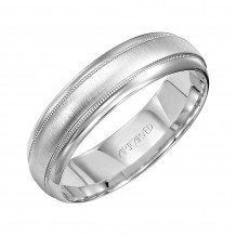 14k White Gold 4mm Brushed Milgrain Wedding Band