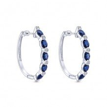 14k White Gold Gabriel & Co. Blue Sapphire Diamond Earrings