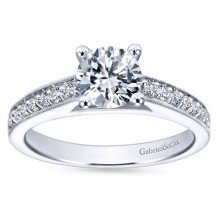 14k White Gold 0.25ct Diamond Gabriel & Co Straight Semi Mount Engagement Ring