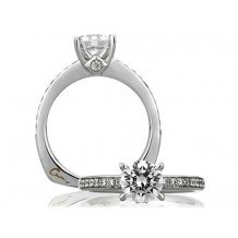A. Jaffe 18k White Gold Signature Classic with Bezel Set Profile Diamond Engagement Ring
