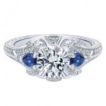 14k White Gold 0.23ct Diamond and 0.38ct Sapphire Gabriel & Co Halo Semi Mount Engagement Ring