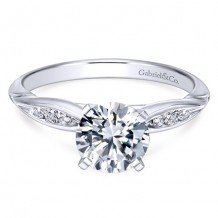 14k White Gold Gabriel & Co. 0.10ct Diamond Engagement Ring