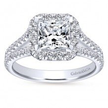 14k White Gold 0.55ct Diamond Gabriel & Co Halo Semi Mount Engagement Ring