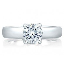A. Jaffe 18k White Gold Classic Prong Set Solitaire Engagement Ring