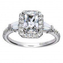 14k White Gold 0.54ct Diamond Gabriel & Co Halo Semi Mount Engagement Ring
