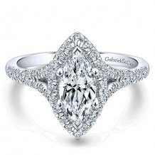 14k White Gold 0.63ct Diamond Gabriel & Co Halo Semi Mount Engagement Ring