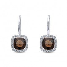 14k White Gold Gabriel & Co. Smoky Quartz Diamond Drop Earrings