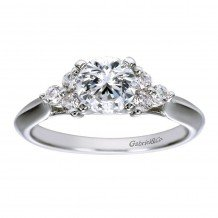 14k White Gold 0.24ct Diamond Gabriel & Co 3 Stone Semi Mount Engagement Ring
