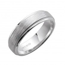 14k White Gold 6mm Crystalline Center Wedding Band