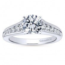 14k White Gold 0.49ct Diamond Gabriel & Co Straight Semi Mount Engagement Ring