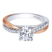 14K White and Pink Gold 0.18ct Diamond Engagement Ring