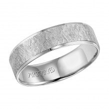 14k White Gold Comfort Fit Carved Wedding Band