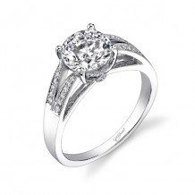 14k White Gold Coast Diamond 0.12ct Diamond Semi-Mount Engagement Ring With Milgrain Details