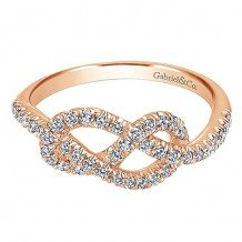 14k Rose Gold Gabriel & Co. and Diamond Fashion Knot Ring