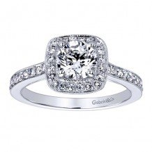 14k White Gold 0.36ct Diamond Gabriel & Co Halo Semi Mount Engagement Ring