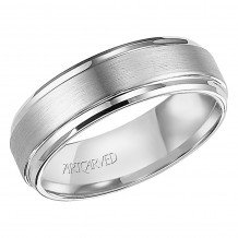 ArtCarved White Tungsten Carbide 7mm Comfort Fit Brushed Center Wedding Band