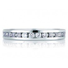 A. Jaffe 18k White Gold Signature Channel Set Diamond Wedding Band