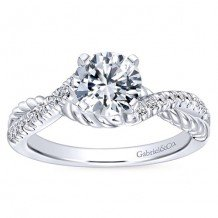14k White Gold 0.17ct Diamond Gabriel & Co Criss Cross Semi Mount Engagement Ring