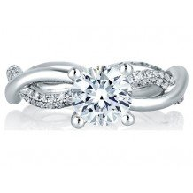 A. Jaffe 18k White Gold Vine Motif Diamond Engagement Ring