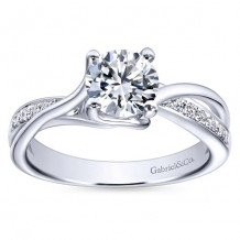 14k White Gold 0.16ct Diamond Gabriel & Co Bypass Semi Mount Engagement Ring
