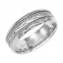 ArtCarved 14k White Gold 7mm Carved Milgrain Wedding Band