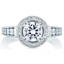 A. Jaffe 18k White Gold Classic Milgrain Halo Set Diamond Engagement Ring
