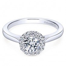 14k White Gold Gabriel & Co. 0.22ct Diamond Engagement Ring