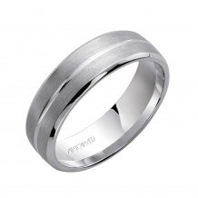 14k White Gold 8.5mm Men's Beveled Wedding Band