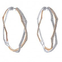 14k White and Rose Gold Gabriel & Co. Intricate Diamond Hoop Earrings