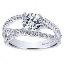 14k White Gold 0.57ct Diamond Gabriel & Co Free Form Semi Mount Engagement Ring