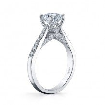 14k White Gold Coast Diamond 0.26ct Diamond Semi-Mount Milgrain Engagement Ring
