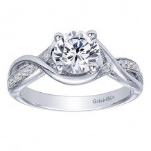 14k White Gold 0.10ct Diamond Gabriel & Co Criss Cross Semi Mount Engagement Ring