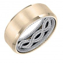 ArtCarved 18k Two Tone Gold Carved Inside, Satin and Polished Outside Wedding Band