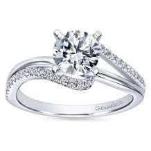 14k White Gold 0.20ct Diamond Gabriel & Co Bypass Semi Mount Engagement Ring