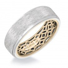 ArtCarved 14k Two Tone Gold Carved Inside, Brushed Outside Wedding Band