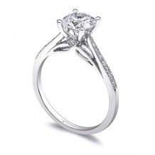 14k White Gold Coast Diamond 0.12ct Diamond Semi-Mount Fine Pave Milgrain Engagement Ring