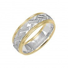 14k Two Tone Gold 7mm Carved Wedding Band