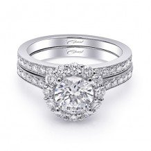 14k White Gold Coast Diamond 0.64ct Diamond Semi-Mount Fine Pave Milgrain Engagement Ring
