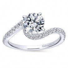 14k White Gold 0.30ct Diamond Gabriel & Co Bypass Semi Mount Engagement Ring