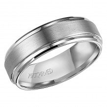 ArtCarved Gray Tungsten Carbide 7mm Comfort Fit Brushed Center Wedding Band